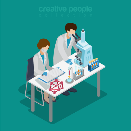 pharmaceutics: Flat 3d isometric science lab experiment research pharmaceutics chemical concept web infographics vector illustration. Couple scientist assistant microscope flask test tube. Creative people collection.