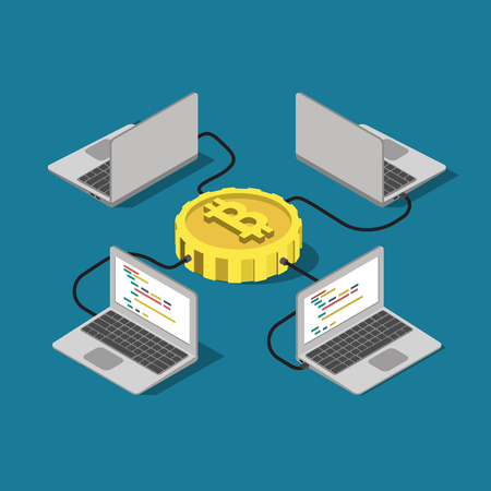 mine data: Bitcoin network connection online mining flat 3d isometry isometric concept web infographics vector illustration. Laptop computer connected to bit coin. Creative people collection.