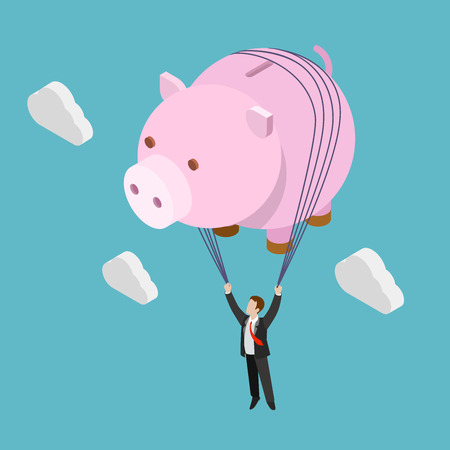 inflating: Flat 3d isometric financial freedom concept web infographics vector illustration. Businessman fly piggy bank inflating balloon. Creative people collection. Illustration