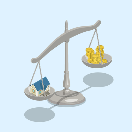 metaphoric: Flat 3d isometric real estate mortgage sale value scales concept web infographics vector illustration. Weights with house on one scale and money coins on other.