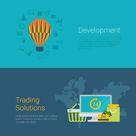 slider: Flat style website slider banner development trading solution concept web infographics. Flying balloon worldwide online 24 hour shopping payment bag cart icons vector illustration. Illustration