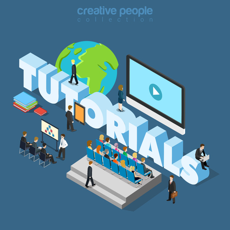 Flat 3d isometric style business tutorial online education training coaching concept web infographics vector illustration.Businessmen in class and big tutorials word. Creative people collection. Illustration