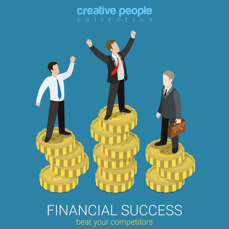 success concept: Financial success flat 3d web isometric infographic business concept vector illustration. Happy successful businessman winner on top coin heap rising hands and competitors. Creative people collection.