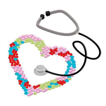 metaphoric: Flat 3d isometric I like to be treated health care medical concept web infographics vector illustration. Heart shape formed with colorful tablet pill stethoscope.