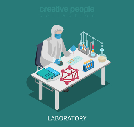 lab test: Flat 3d isometric science lab experiment research pharmaceutics chemical concept web infographics vector illustration. Scientist dropper flask test tube. Creative people collection. Illustration