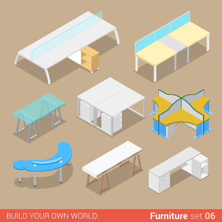 four objects: Office furniture set 06 work table two four seat element flat 3d isometry isometric concept web infographics vector illustration. Creative interior objects collection.