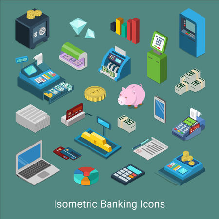 cash slips: Flat 3d isometric banking financial icon set concept web infographics vector illustration. Bank finance money safe golden bar cash cashier desk ATM slip credit card processing diamond checker terminal