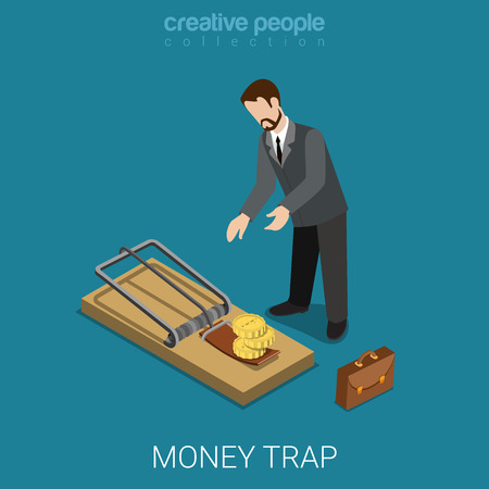 lean over: Flat 3d isometric style money finance banking credit loan trap concept web infographics vector illustration. Isometry businessman lean over mousetrap with coin bait. Creative people collection.