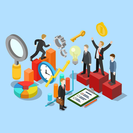success man: Flat 3d isometric business success movement concept web infographics vector illustration. Winner pedestal runner graphic checklist businessman research magnifier clock. Creative people collection. Illustration