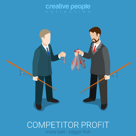 competitor: Flat 3d isometric style competitor profit comparison concept web infographics vector illustration. Two businessmen holding different fish. Creative people collection. Illustration