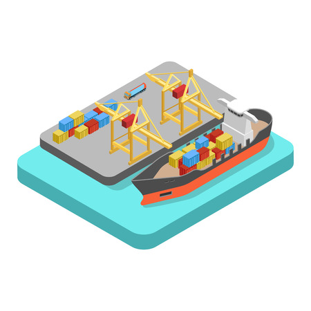 loading dock: Flat 3d isometric nautical transport cargo shipping harbor dock port concept web infographics vector illustration. Container ship barge loading crane marine transportation.