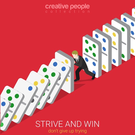strive: Flat 3d isometric style strive and win do not give up trying business concept web infographics vector illustration. Man holding row of falling domino. Creative people website conceptual collection. Illustration