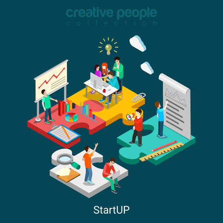 web solution: Flat 3d isometric StartUP concept web infographics vector illustration. Puzzle solution idea research report team business planning. Creative people collection.