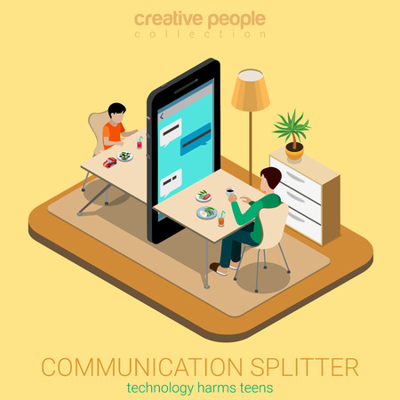 Flat 3d isometry isometric communication splitter social parenting concept web infographics vector illustration. Big smartphone table between dad son lack deficit attention. Creative people collection Illustration