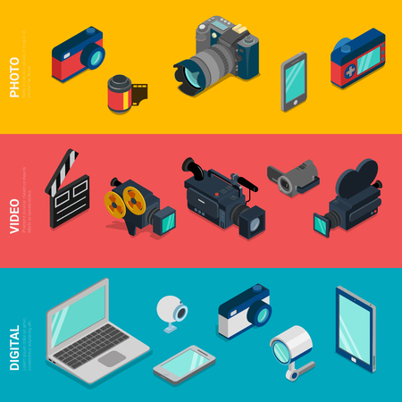 laptop vector: Flat 3d isometric digital electronics computer photo video equipment icon set concept web infographics vector. Laptop tablet PC webcam camera DSLR camcorder security smart phone mobile app.