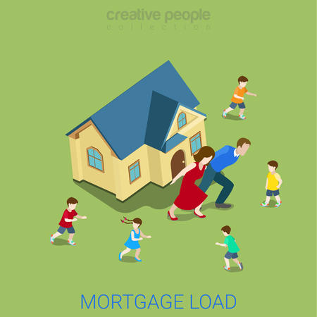 burden: Flat 3d isometric style mortgage load loan burden financial business concept web infographics vector illustration. Family couple carry big house. Creative people website conceptual collection.