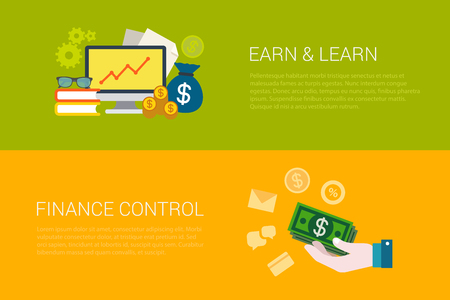 earn money: Flat style set of online earn and learn finance control web infographics banners. Computer money bag dollar banknote financial management. Website info graphic collection.