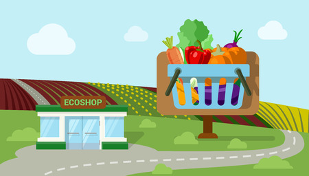 eco icons: Flat style agriculture vegetable fresh country roadside field organic market ecoshop web infographic icons. Pumpkin carrot salad cart countryside vector illustration. Website infographics collection. Illustration