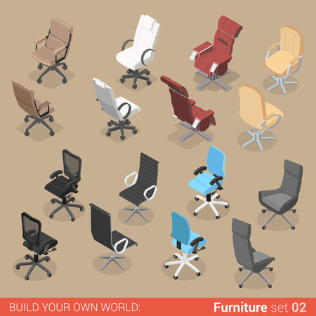 recliner: Office furniture set 02 chair seat armchair stool recliner lounge element flat 3d isometry isometric concept web infographics vector illustration. Creative interior objects collection.