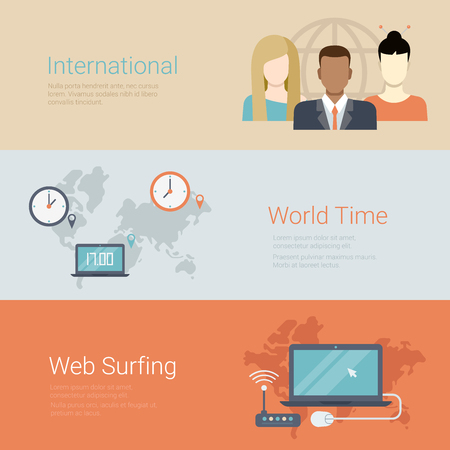 surf team: Flat style website slider banner international team world time web surfing concept web infographics. Group of people globe, worldwide clocks, wi-fi router laptop.