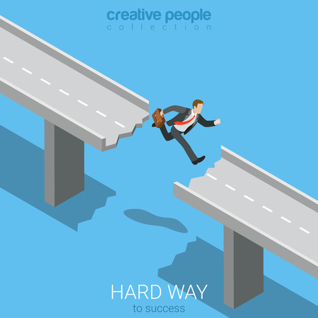 Flat 3d isometric style hard way to success business concept web infographics vector illustration. Businessman jump over hole abyss obstacle on road. Creative people website conceptual collection. Illustration