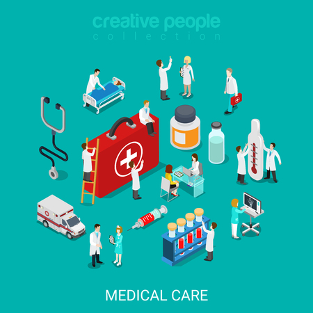 Flat 3d isometric medical services doctor nurse first aid kit concept web infographics vector illustration. Micro hospital staff pill syringe ambulance diagnosis icon. Creative people collection Çizim