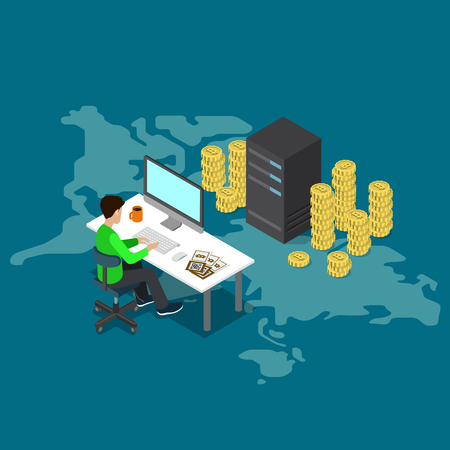 Flat 3d isometry isometric bitcoin online mining concept web infographics vector illustration. Man on computer and bit coin mine service server. Creative people collection.