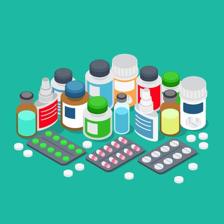 pharmaceutics: Flat 3d isometric pharmaceutics pharmacy drug store cure healthcare medical prescription medicine chest first aid kit medicine medicament concept web infographics vector illustration. Tablet pill drop Illustration