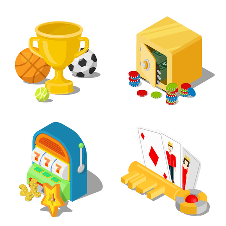 stake: Flat 3d isometric gambling casino gaming stakes concept web infographics vector illustration icon set. Cup trophy sports safe money caps one-armed bandit key cards Black Jack.