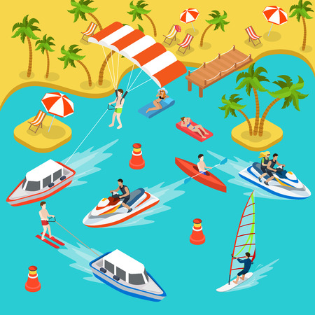 inflating: Flat 3d isometric travel tourism tropical beach resort holiday vacation icon set concept web infographics. Sea shore air mattress yacht boat kayak parasailing jetski surf. Creative people collection. Illustration