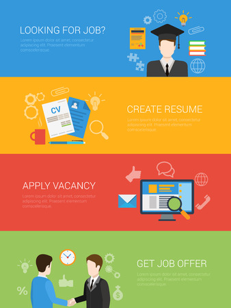 looking for job: Flat style looking for job offer create resume apply vacancy website banner infographic icon set. Graduate diploma get recommendation partnership handshake. Web infographics collection.