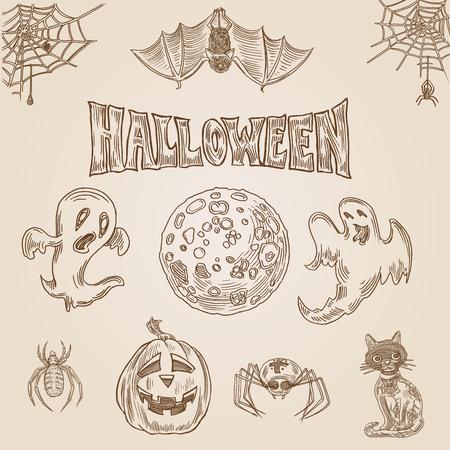 Halloween-Party-Stil Gravur Hand gezeichnet Doodle Vorlage banner print web site Set pen kreuzschraffieren Schraffur Papier Retro-Vintage-Vektor-Illustration Malerei