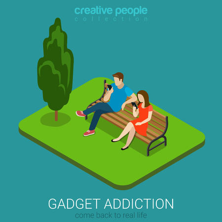 Flat 3d isometric style mobile gadget addiction technology concept come back to real life web infographics vector illustration. Couple on bench using smart phones. Creative people collection.