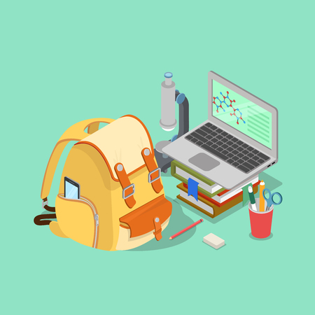 metaphoric: Flat 3d isometric scientific education concept web infographics vector illustration. Backpack smartphone laptop books microscope formula collage.