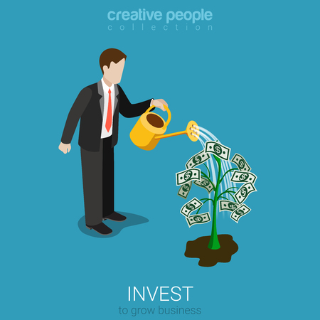 Flat 3d isometric style invest concept web infographics vector illustration. Businessman watering plant with dollar leaves. Creative people collection.