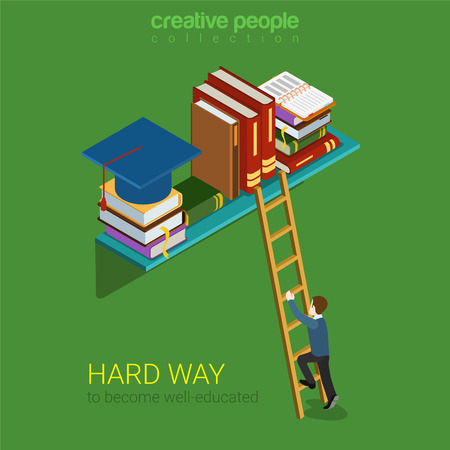 Flat 3d isometric style hard way well-educated education concept web infographics vector illustration. Young man climb ladder to book shelf graduate. Creative people website conceptual collection.