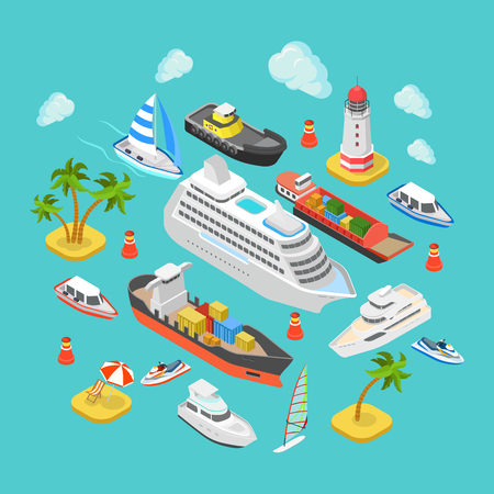 Flat 3d isometric ocean sea nautical water transport logistics concept web infographics vector illustration icon set. Cruise liner container longboat yacht jetski motor boat ship tropical beach island Ilustrace