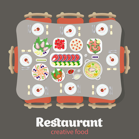 soy sauce: Restaurant flat style design vector graphic top view elements set. Japanese Lobster Fish steak Shrimps Oysters Caviar Soup Sausage Meat food Desert Cake Plates Soy sauce icon illustrations collection.