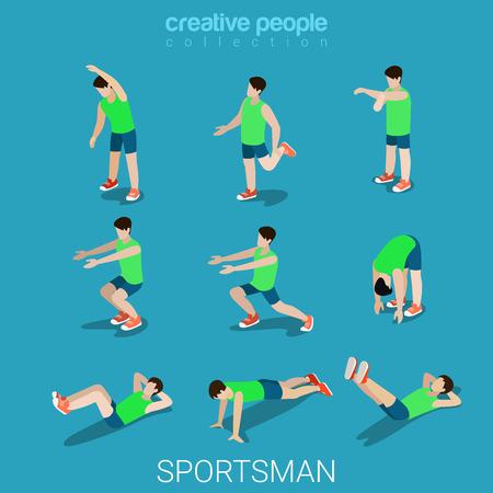 collection: Piso 3d deportistas isométrica estilo deportivo del concepto de ilustración vectorial infografía web conjunto de iconos masculinos. Ejercicio al aire libre atleta masculino abstracto. personas colección creativa.