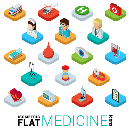 kip: Flat 3d isometric trendy style medicine medical health care web mobile app infographics icon set. Doctor nurse ambulance helicopter blood system stethoscope clyster. Website application collection. Illustration
