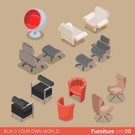 Home living room lounge furniture set 08 chair armchair lounger element flat 3d isometry isometric concept web infographics vector illustration. Creative interior objects collection.