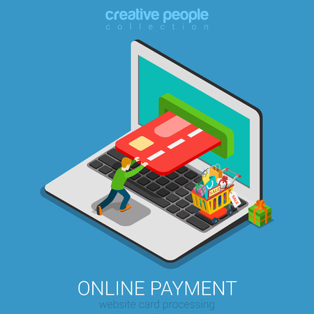 Flat 3d isometry isometric mobile online payment concept web infographics vector illustration. Micro casual man pushing card into laptop screen. Creative people collection. Illusztráció