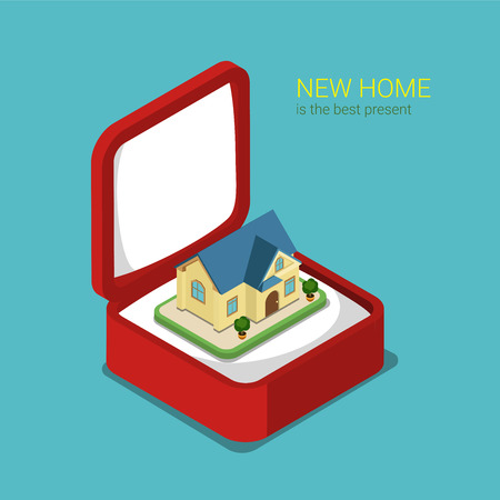 box template: Flat 3d isometric style real estate house present concept web infographics vector illustration. Red gift box with cute villa inside. Creative people website conceptual collection. Illustration