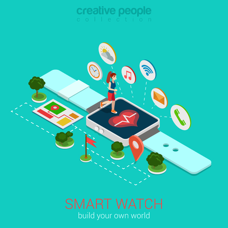micro: Flat 3d isometric style smart fitness watch web infographics concept. Micro woman racer run on big smartwatch with heart monitor healthy sporty lifestyle. Conceptual website info graphics collection.