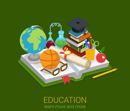 플랫 3d 아이소 메트릭 스타일 교육 학교 대학 대학 개념 웹 infographics 벡터 그림은 아이콘으로 설정합니다. 펼친 책 및 글로브 플라스 크 안경 인증서
