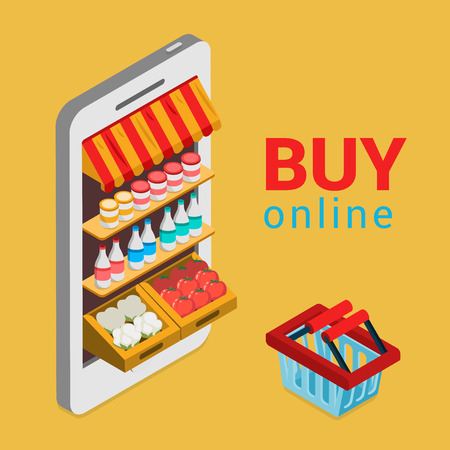 Tablet smartphone buy online grocery shopping e-commerce store flat 3d web isometric infographic concept vector electronic business sales. Shop cart market shop showcase product shelving shelf screen.