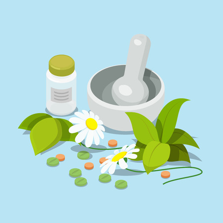 pounder: Flat 3d isometric herbal heeling cure alternative medicine concept web infographics vector illustration. Pistil pestle pounder chamomile leaves tablets dietary supplement powder flour can bottle.