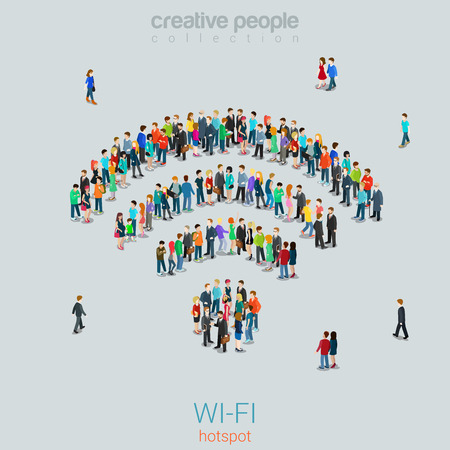 Flat 3d isometric style free public  hotspot concept web infographics vector illustration crowded square. Crowd group forming WiFi sign shape internet access point. Creative people collection.