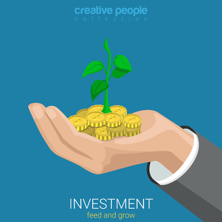 grow business: Flat 3d isometric style investment grow business concept web infographics vector illustration. Coin and plant sprout growing on hand palm. Creative people website conceptual collection. Illustration