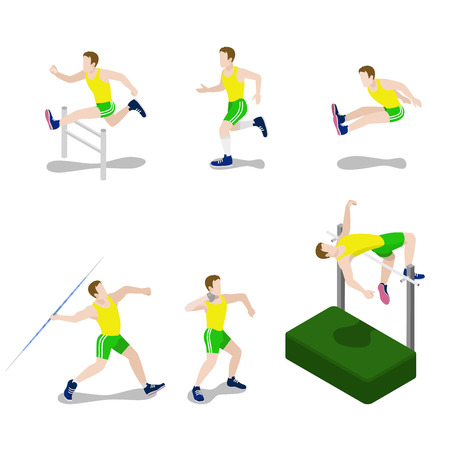 male athlete: Flat 3d isometric style sportsman male sport concept web infographics vector illustration icon set. Exercise male athlete abstract outdoor all-around rounder. Creative people collection. Illustration
